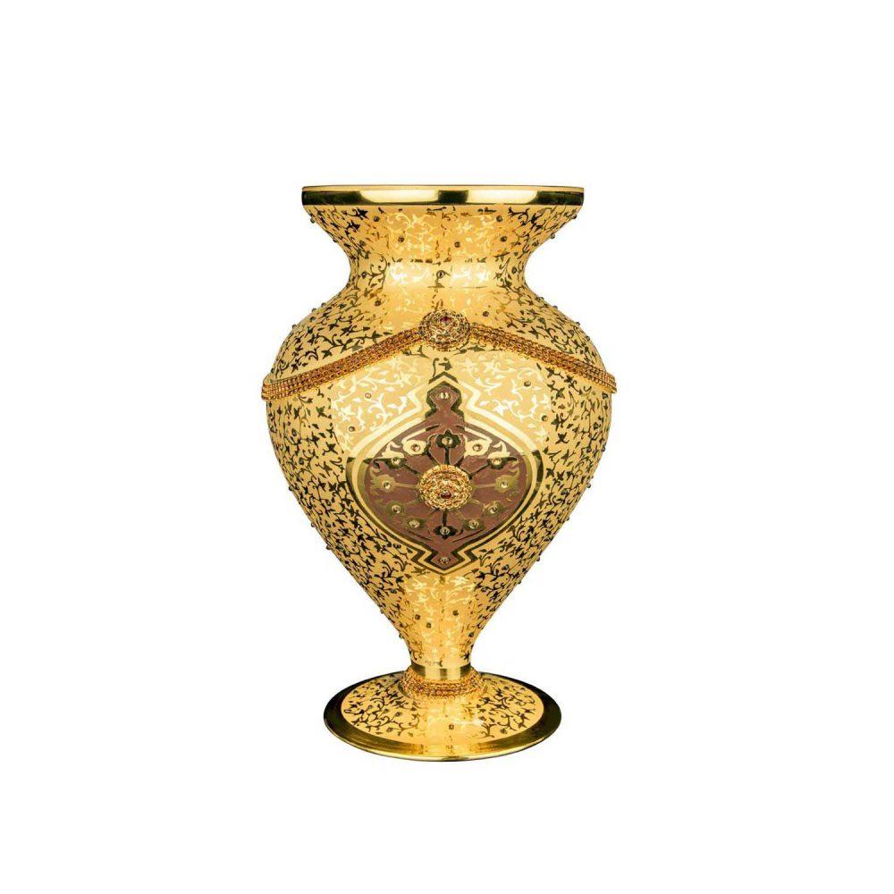 خرید گلدان طلایی طرحدار کریستال + جام آفرین