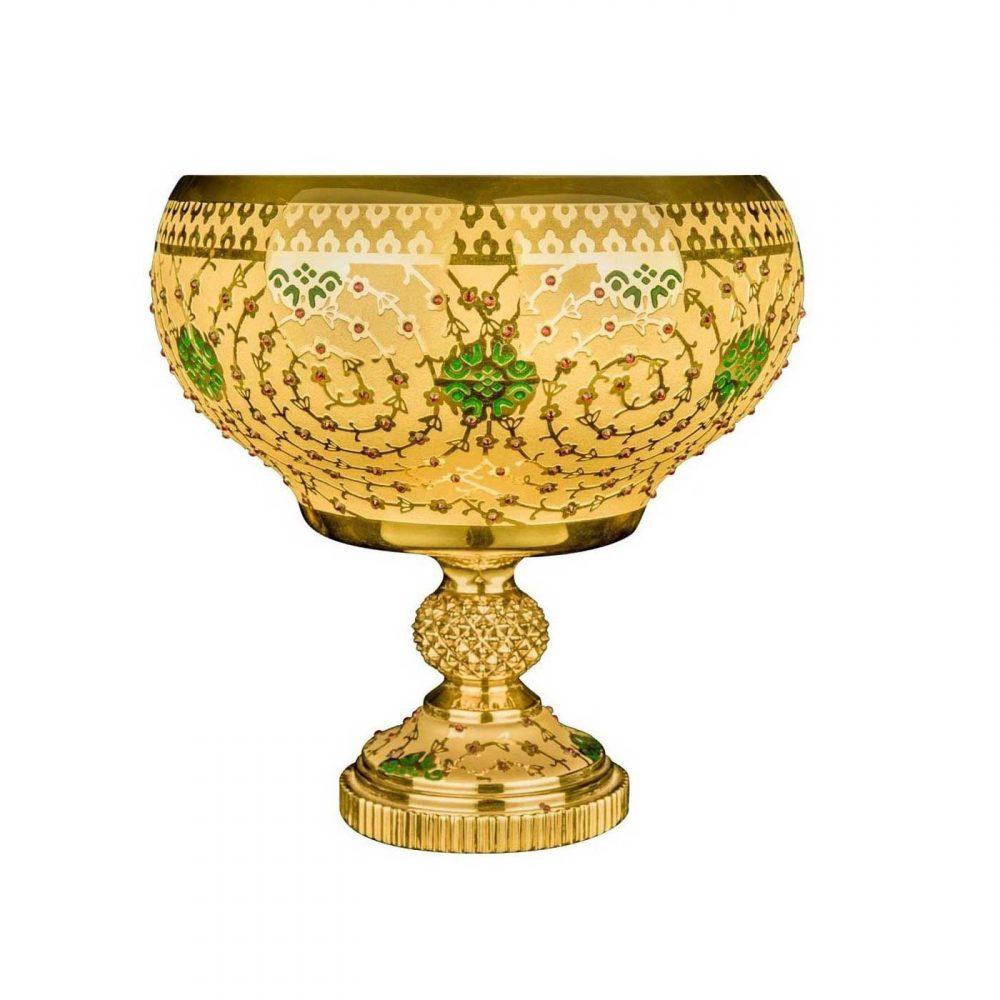 خرید آجیل خوری نگین دار طلایی سبز مدل زیون - ziyon