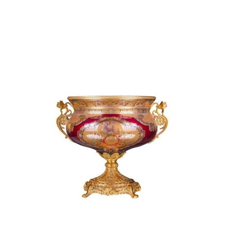 خرید آجیل خوری شیشه قرمز طلایی + برنز گلدکیش