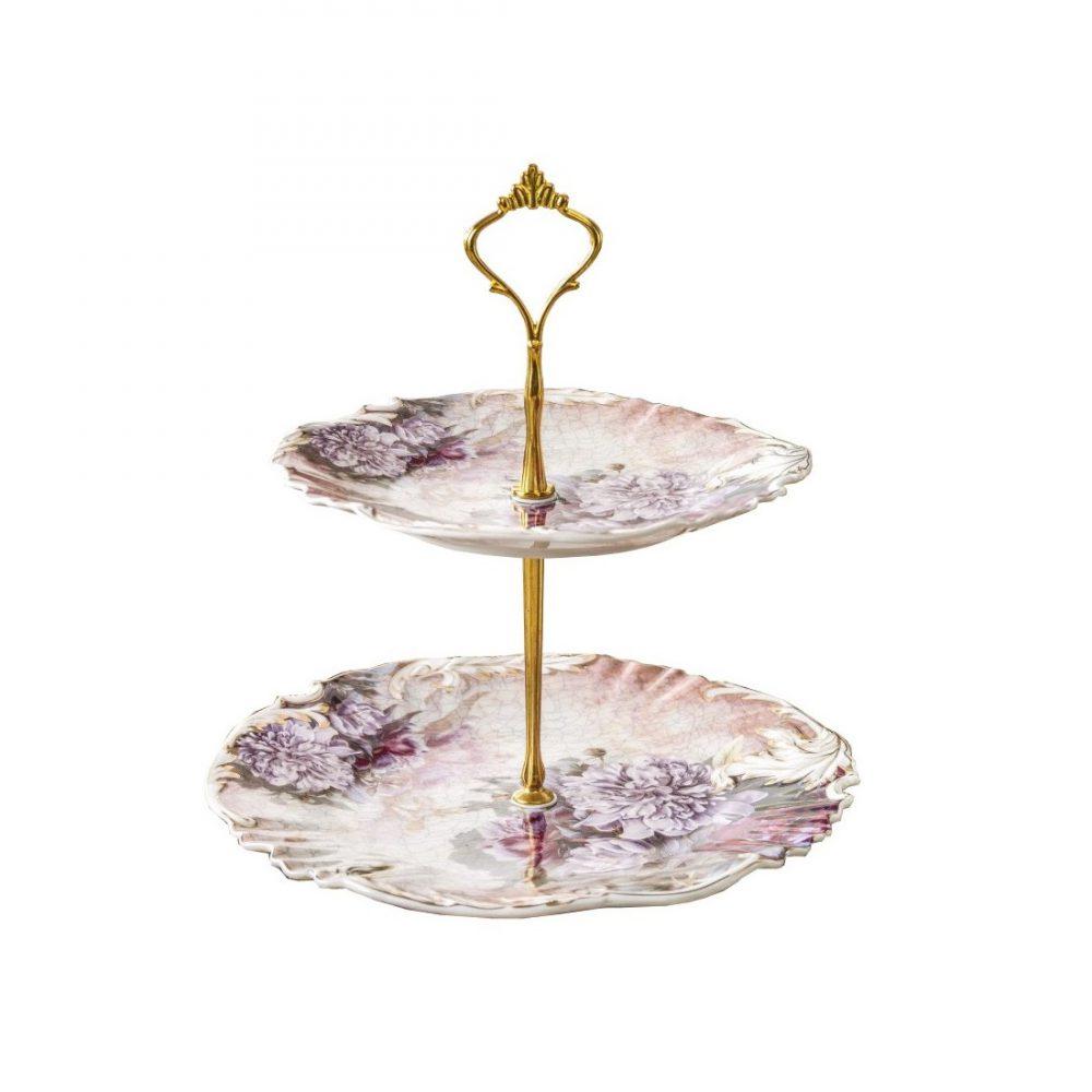 خرید شیرینی خوری دو طبقه گلدار گلدکیش طرح Verona