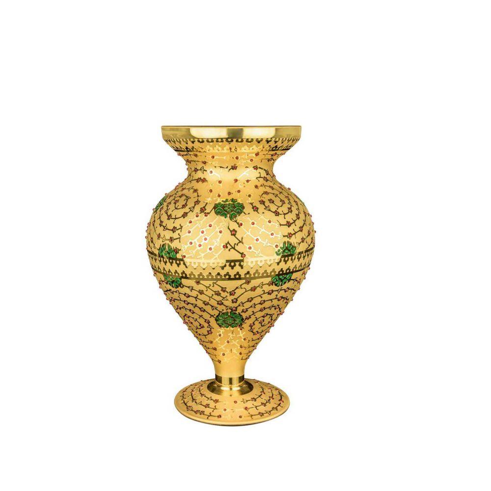 خرید گلدون طلایی نگین دار + کریستال رنگی