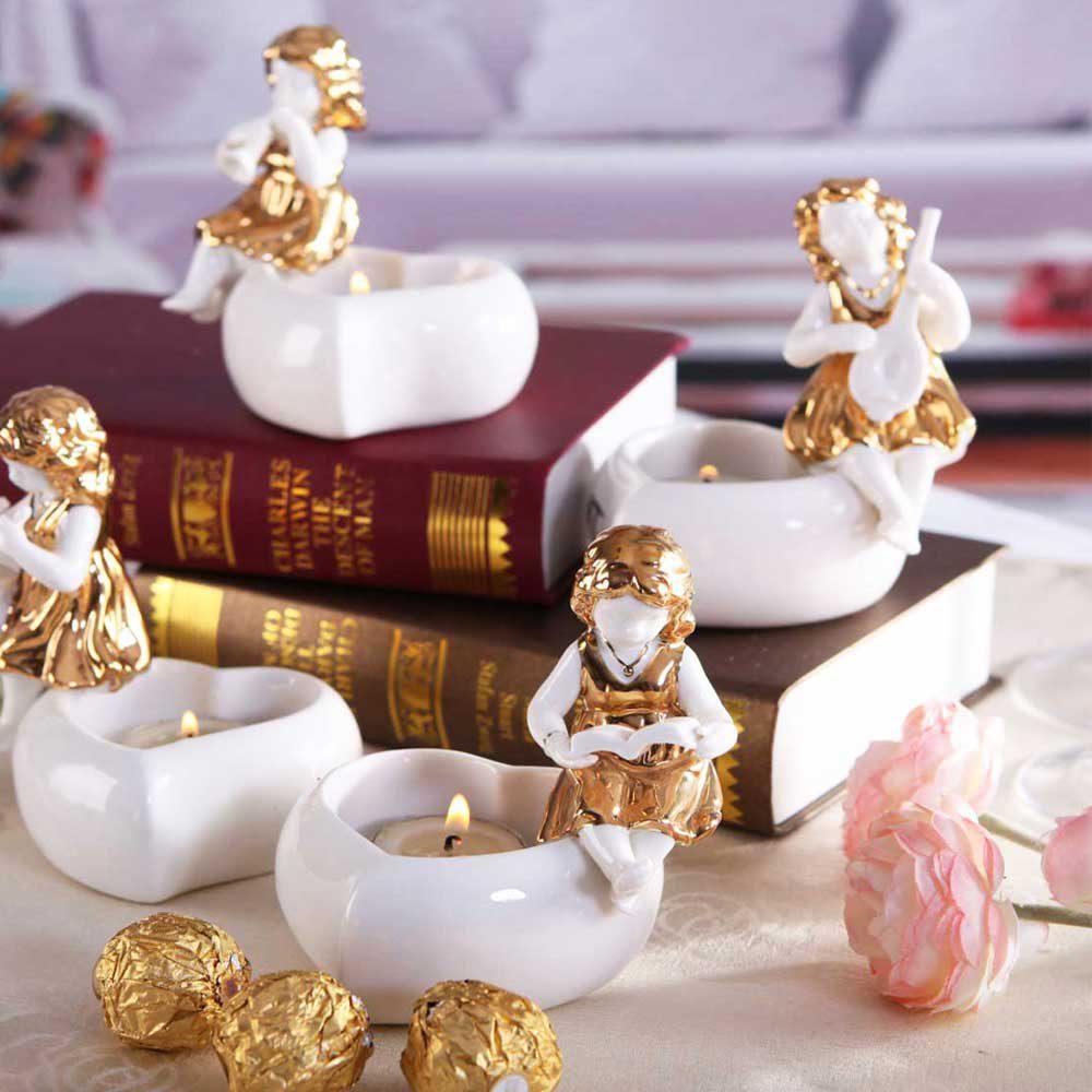 خرید جا شمعی فرشته کتابخوان گلدکیش طرح Gold Angel