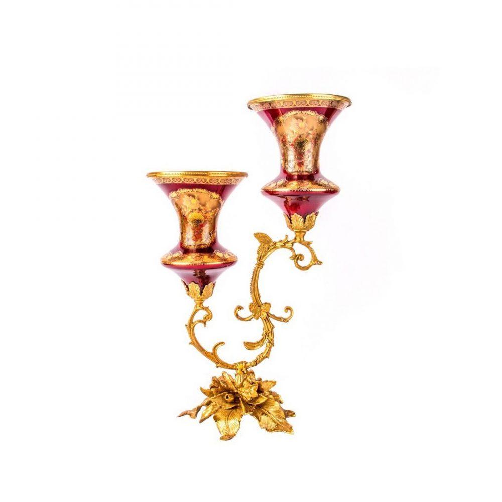 خرید شمعدان شیشه برنز قرمز طلایی - گلدکیش