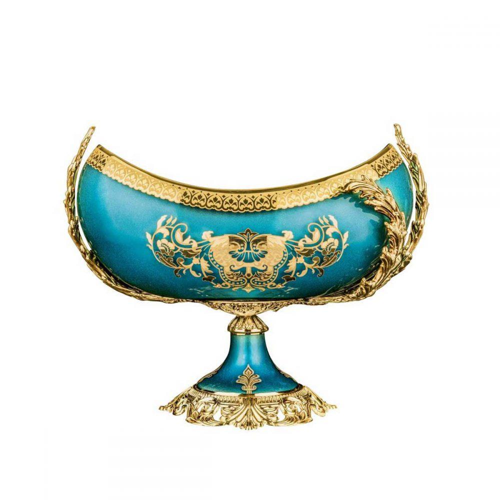 خرید کشکول سلطنتی کریستال رنگی پایه دار