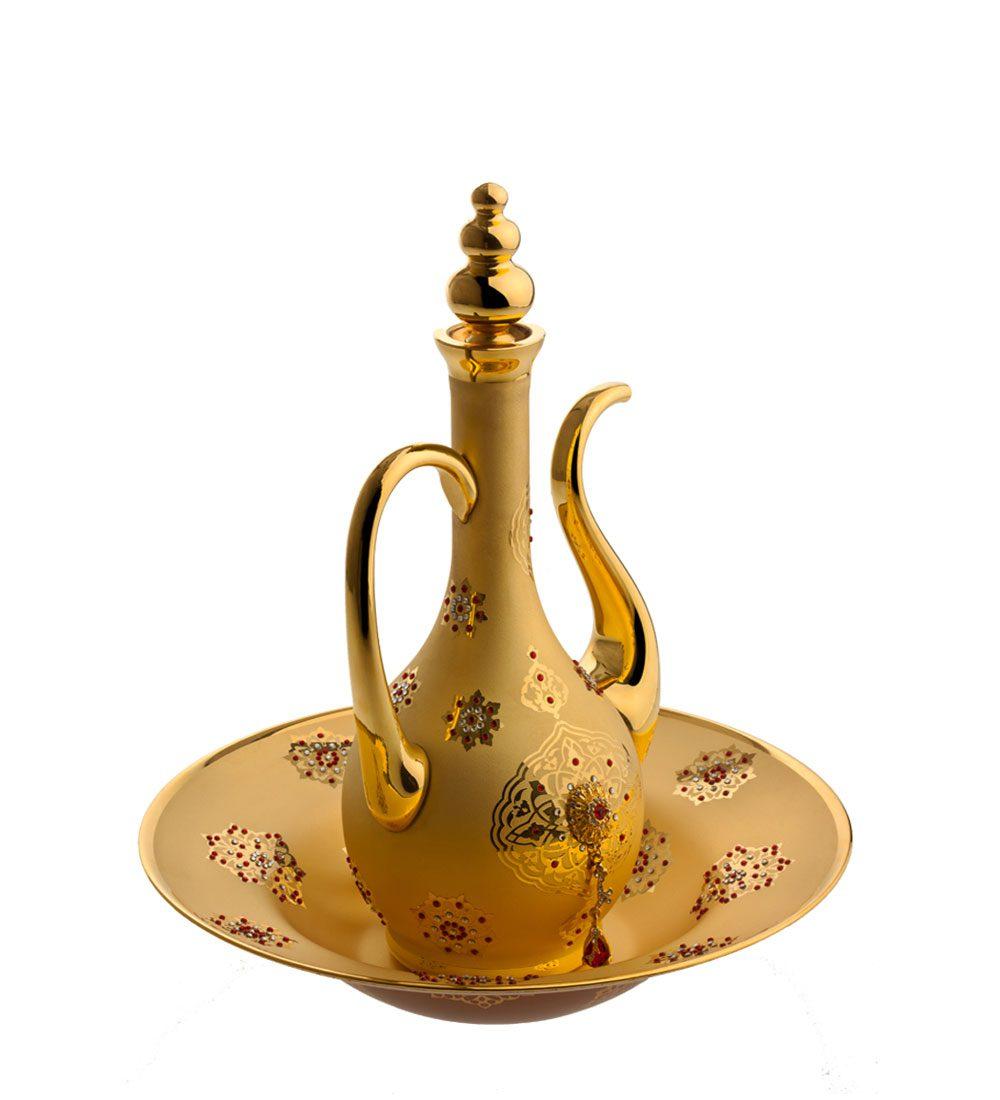خرید جام و زیر جام طلایی نگین دار + مدل هرمس - Hermes