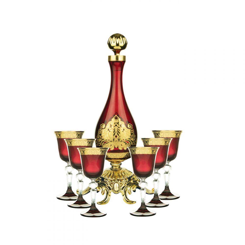 خرید تنگ و گیلاس 6تایی قرمز طلایی مدل آسکوت - Ascot