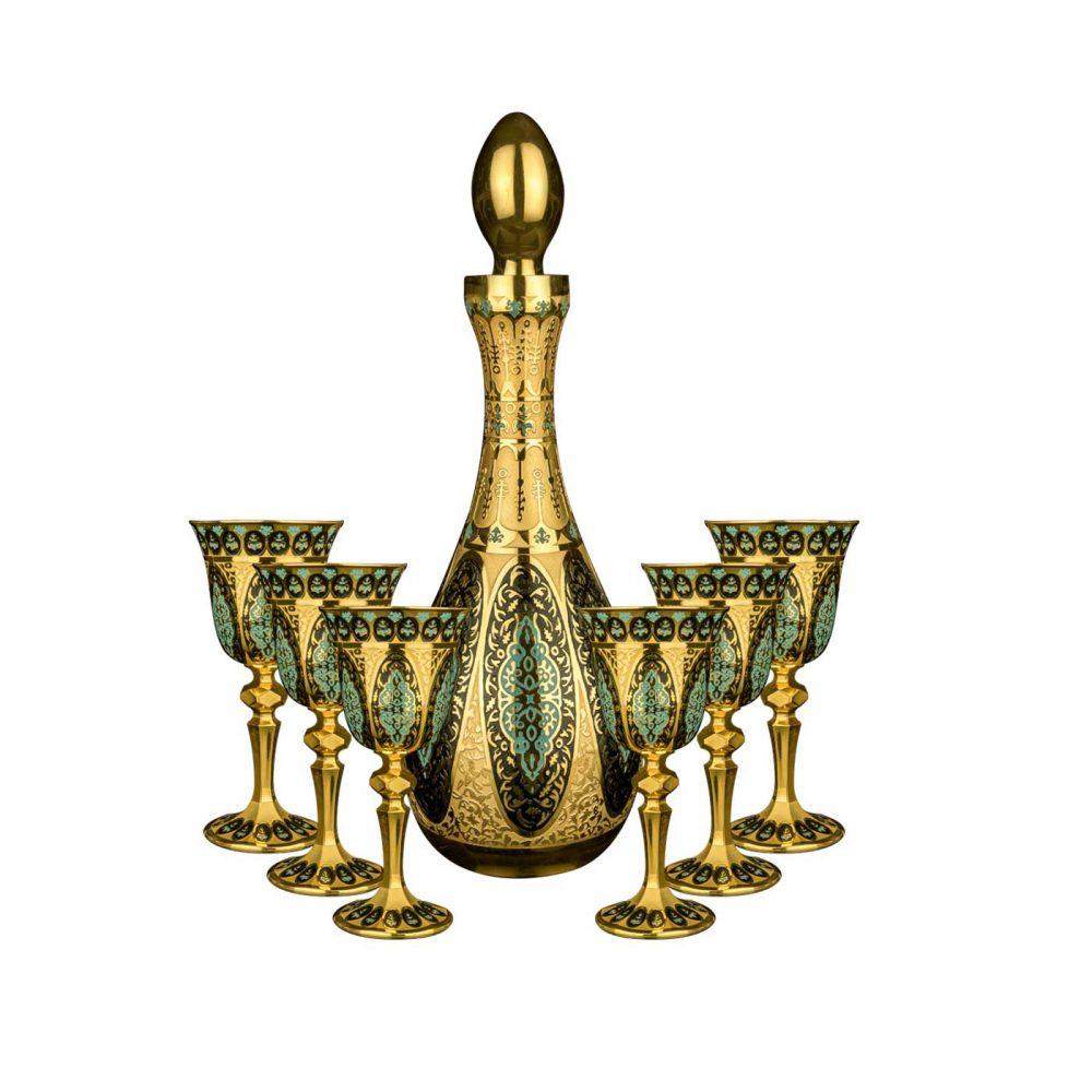 خرید تنگ و گیلاس شش تایی آب طلا کاری مدل ماسیس - Masis