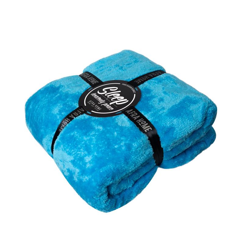 پتو افرا رنگ آبی فیروزه ای - کد 1335