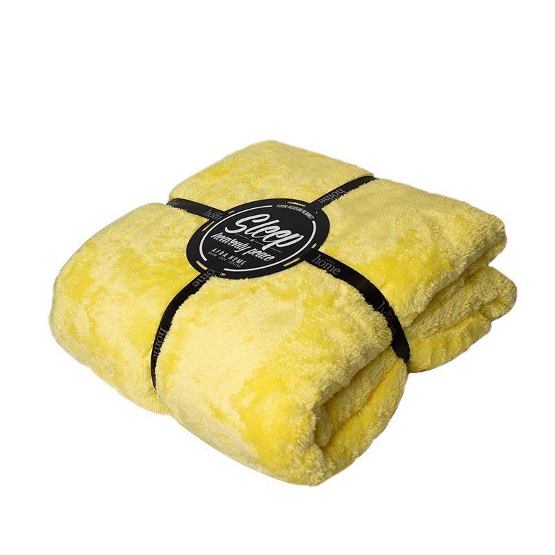 پتو افرا رنگ زرد لیمویی - کد 1344