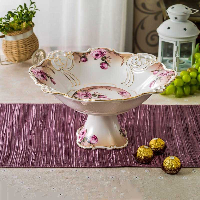 خرید میوه خوری پایه دار سرامیکی سفید گلدار صورتی + طرحValerie