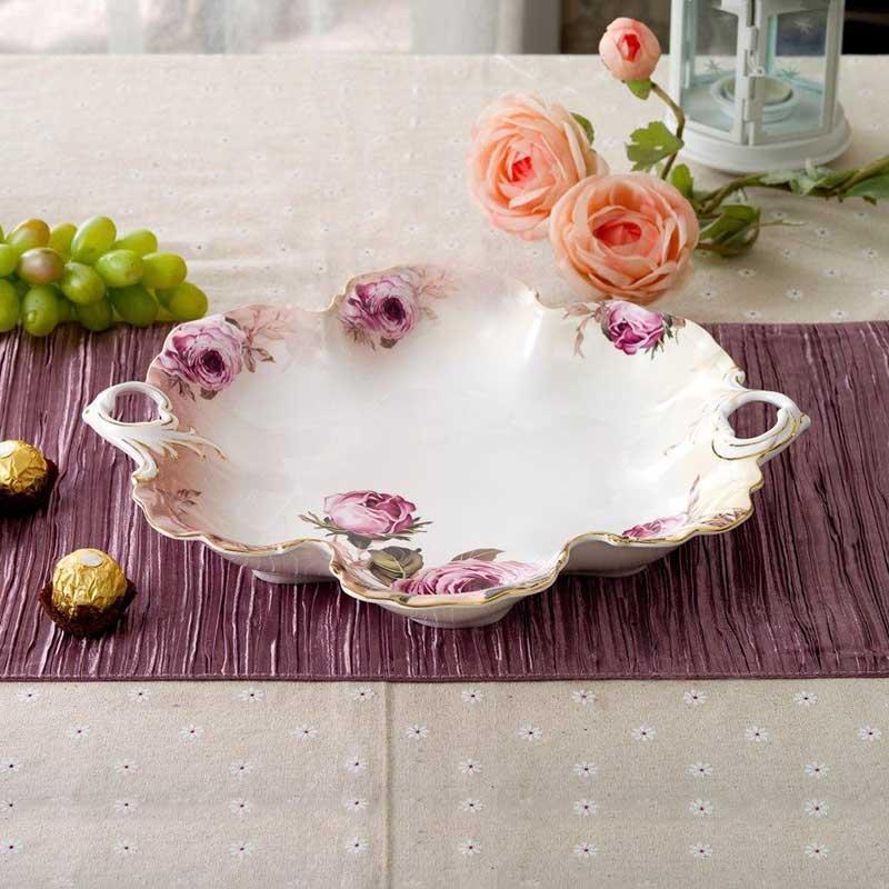 خرید میوه خوری سرامیکی سفید گلدار صورتی + طرحValerie