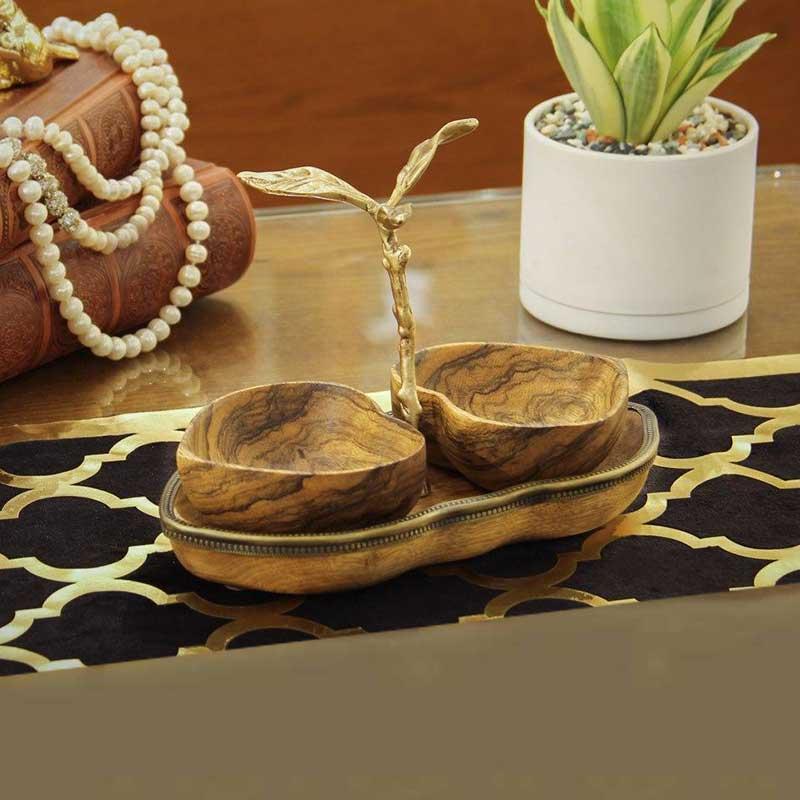 خرید ست اردورخوری قلب دوتایی طرح Wood چوبی