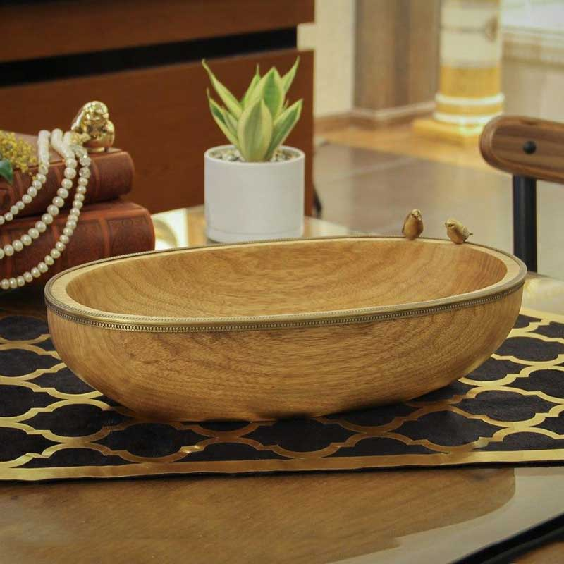 خرید میوه خوری بیضی چوبی دست ساز ایرانی + رنگ نچرال