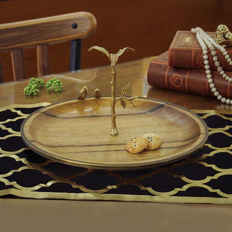 خرید سینی گرد طرح Wood چوبی گلدکیش