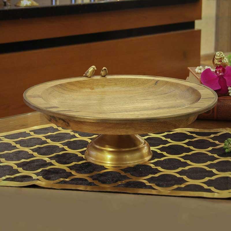 خرید میوه خوری چوبی گرد پایه دار طلایی + دست ساز